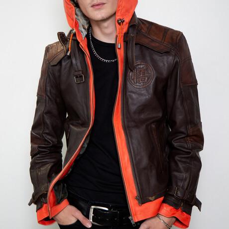 Dragon Ball Z Goku Hooded Leather Jacket // Brown + Orange (XS)
