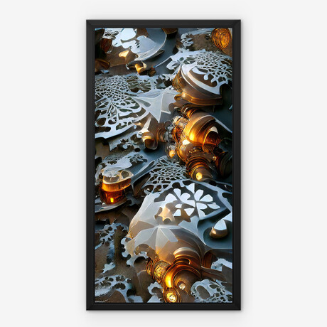 "Silver Plates // Framed Canvas (22""H x 12""W x 2""D)"