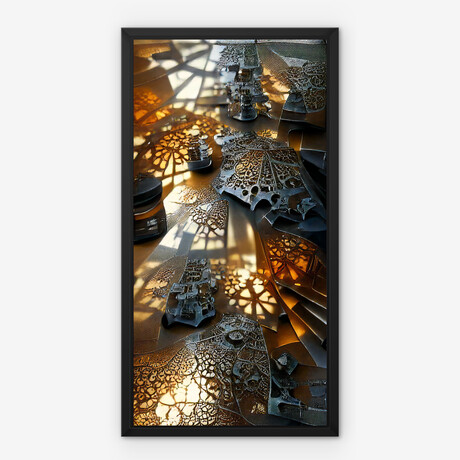"""Meshed Gold and Silver // Framed Canvas (22""""H x 12""""W x 2""""D)"""