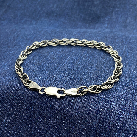 """Sterling Silver Prince of Wales Link Chain Bracelet // 8"""" // 3mm"""