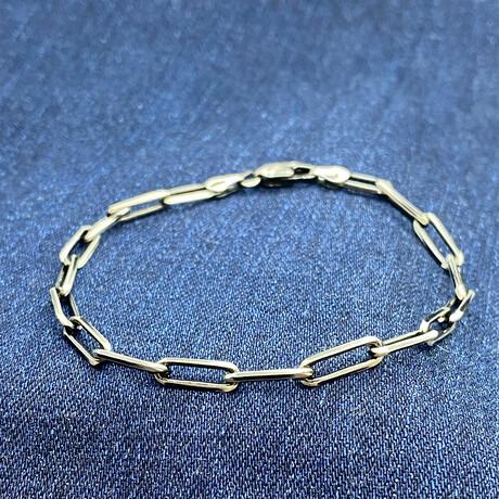 "Sterling Silver Paperclip Link Chain Bracelet // 8"" // 4mm"