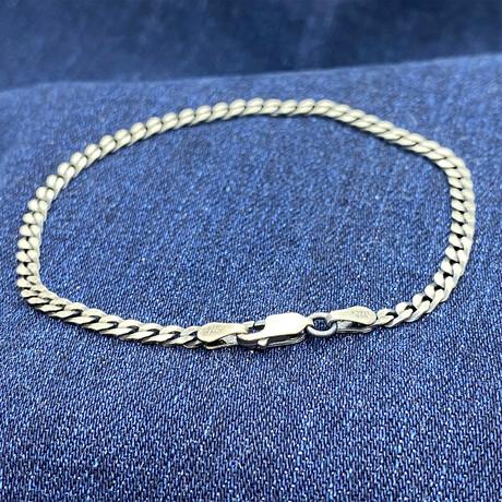 """Sterling Silver Flat Cuban Link Chain Bracelet // 7.5"""" // 3.5mm"""