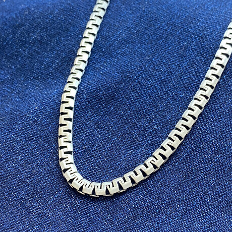 """Sterling Silver Elevated Design Link Chain Necklace // 20"""" // 4.5mm"""