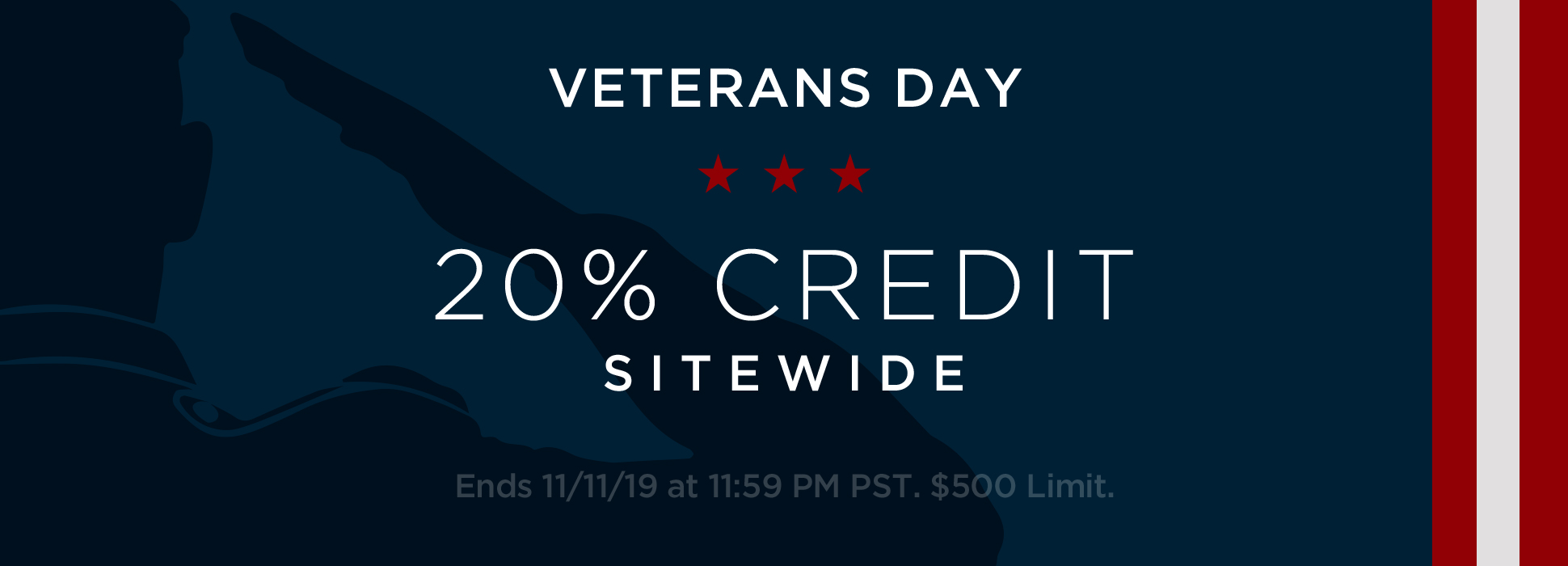 Veteran's Weekend 20% Credit - Day 3 (Promo + Banner)