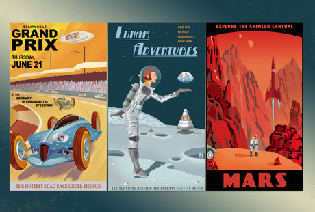 Retro-Futuristic Space Travel Prints