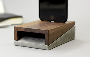 The Wood + Concrete iPhone Dock