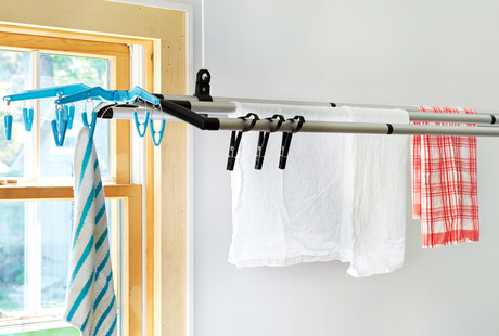Sleek + Loft-Able Clothes Drying Racks