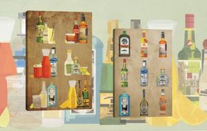 Vintage Liquor On Canvas