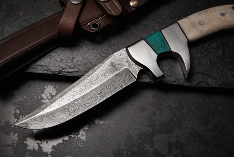 Damascus Bowies, Daggers, + Folding Knives