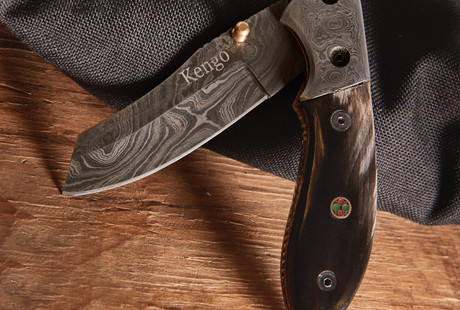 Linerlock Damascus Knives