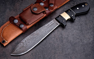 Sub Hilt Damascus Straight Knives