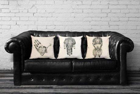 Hand Stamped Portrait Art Pillows