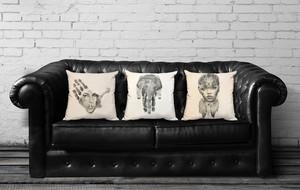 Hand Stamped Portrait Art Pillows
