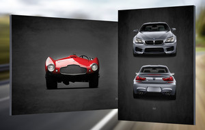 Classic European Sports Cars On Canvas
