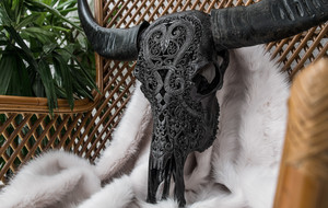 Hand Carved Cow + Buffalo Skulls