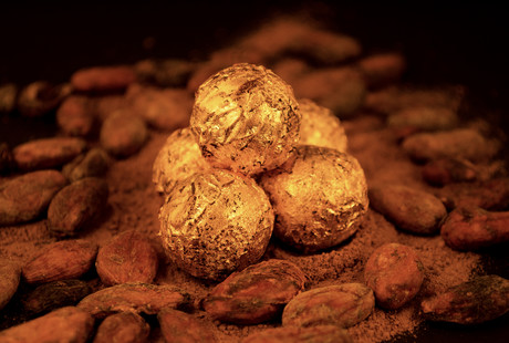 Gold-Covered Chocolate Truffles