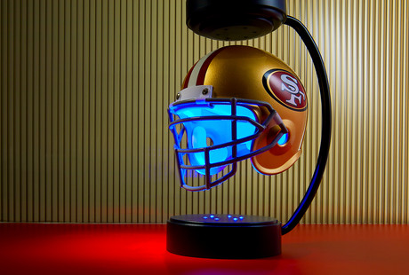 Levitating NFL Helmets