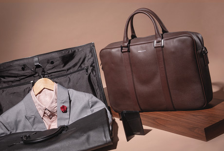 Lapel Pins + Leather Bags