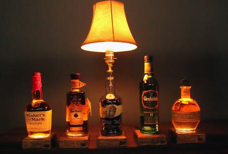 Reclaimed Liquor Bottle Lamps