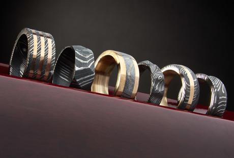 Custom Damascus Steel Rings