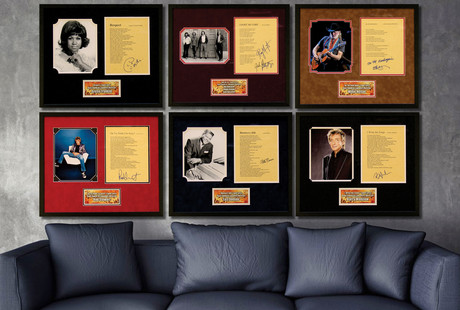 Autographed Song Lyric Displays