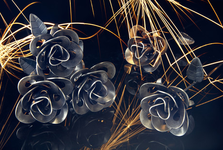 Hand-Welded Metal Roses