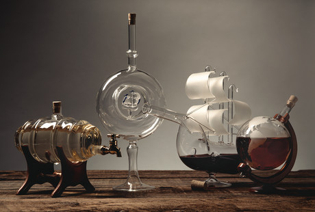 Artisan Glass Decanters + Cruets