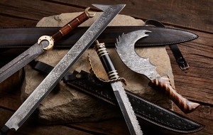 Battle-Ready Damascus Swords