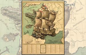 Wood Mounted Vintage Maps